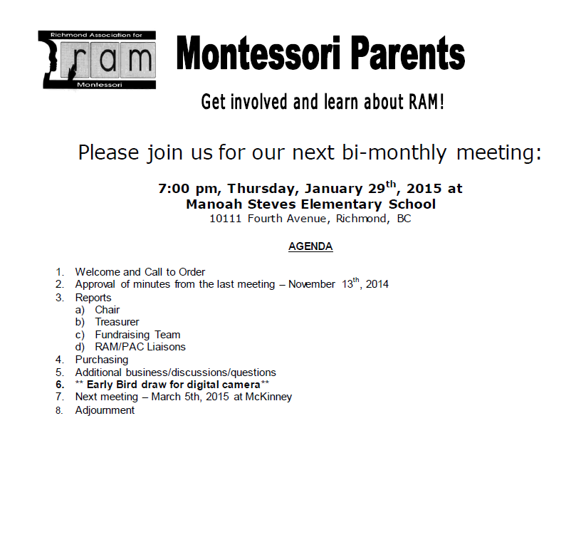 RAM Meeting Notice - January 2015